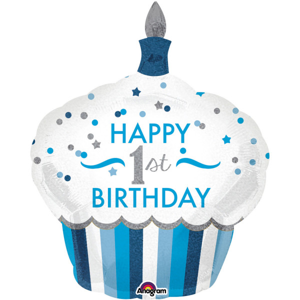 "Folienballon""1st Birthday Cupcake - Junge"""
