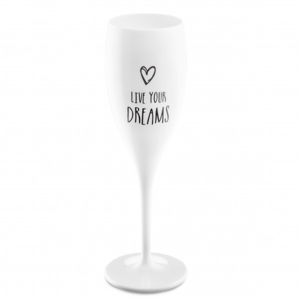 Koziol Sektglas mit Druck CHEERS LIVE YOUR DREAMS