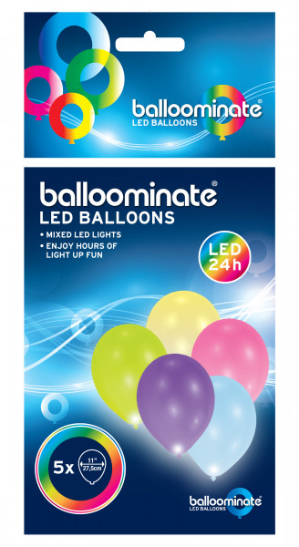 5 Latexballons LED bunt